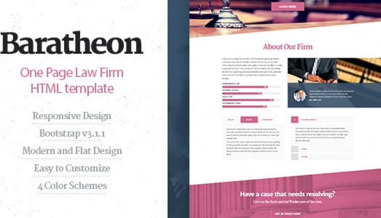 Baratheon – One Page Law Firm HTML Template | Prosyscom Tech
