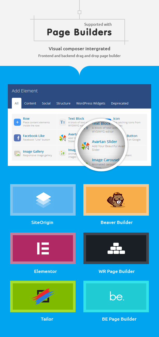 Supported Page Builder with Avartan Slider