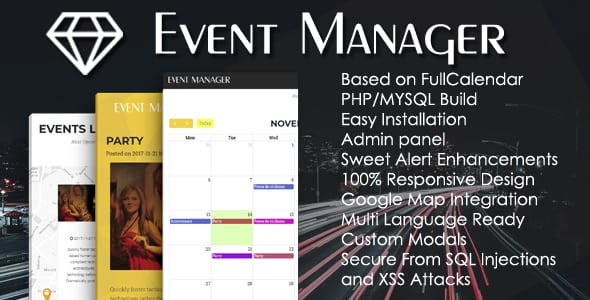 Event Manager PHP Script + Admin panel | Prosyscom Tech