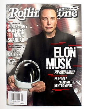 Elon Musk on the cover of Rolling Stone magazine in 2017.