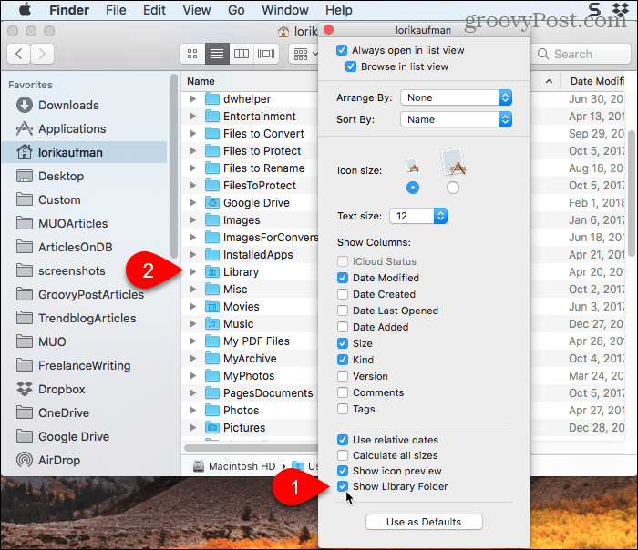 Check Show Library Folder box in Finder