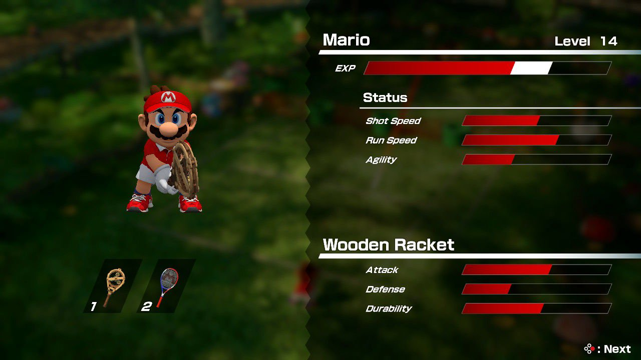Mario Tennis Aces racket levels