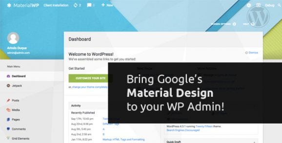 Material WP – Material Design Dashboard Theme | Prosyscom Tech