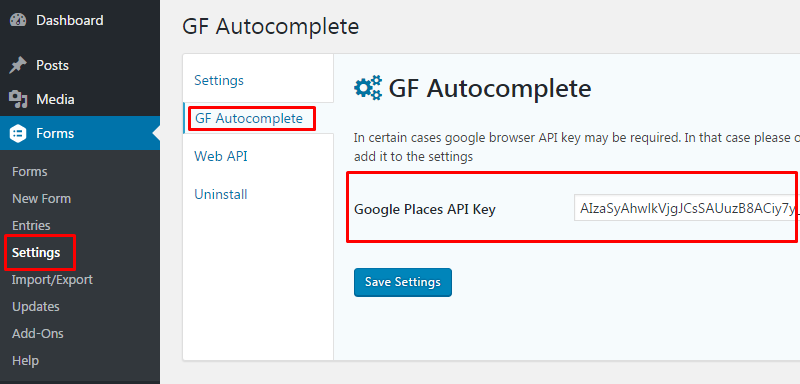 Setting up google browser API key