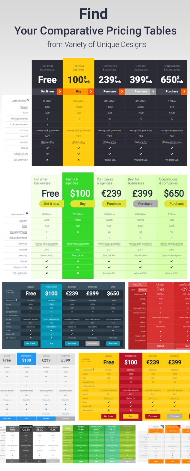 Comparative Responsive Pricing Tables | Prosyscom Tech 2
