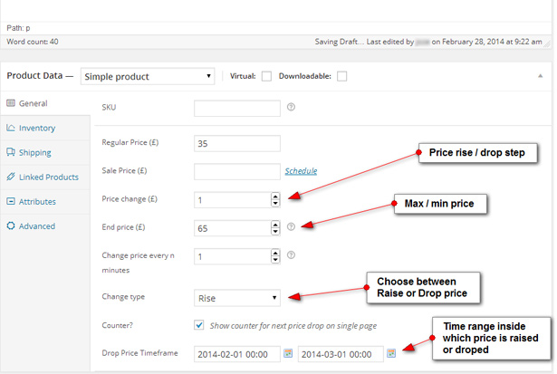 Drop price inputs in wp admin
