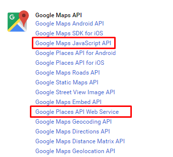 Enable Map and Palces API in the google