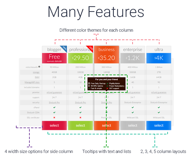 pricing table features