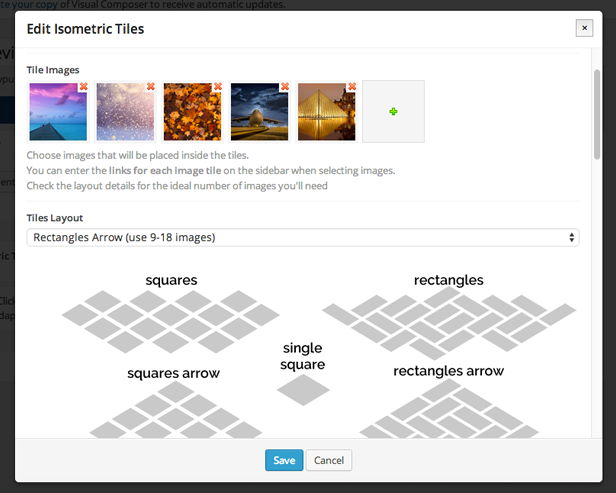 Edit properties window of Isometric Image Tiles in WPBakery Page Builder