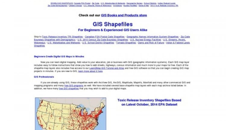 Download GIS Shapefiles – FSA, GNIS, zip code, climate, tornadoes, school districts, zip codes, dams , Indian and federal lands, toxic releases | Prosyscom Tech