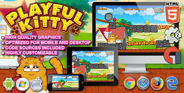 Playful Kitty – HTML5 Construct 2 Game | Prosyscom Tech