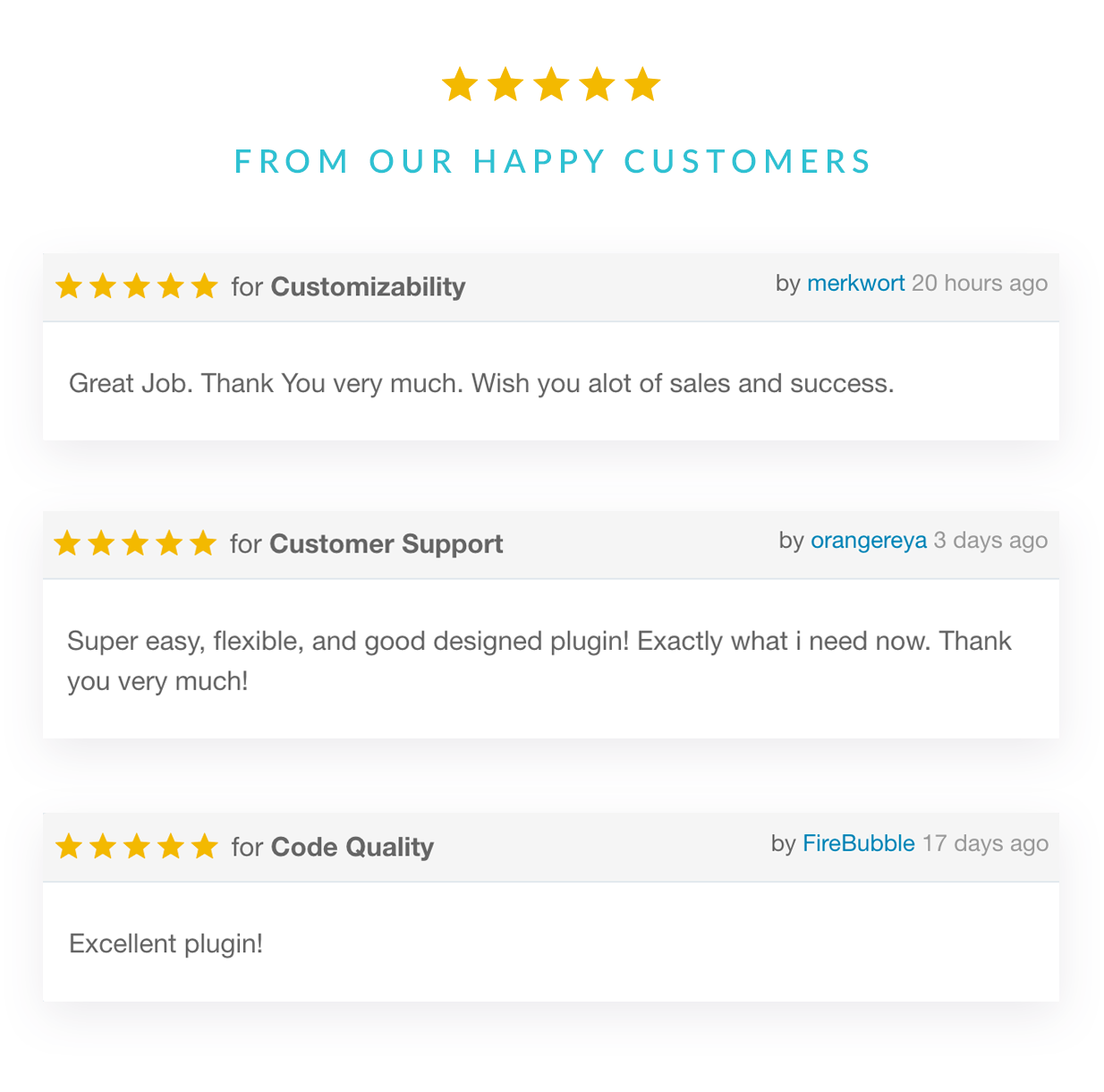 Five star ratings from our happy customers