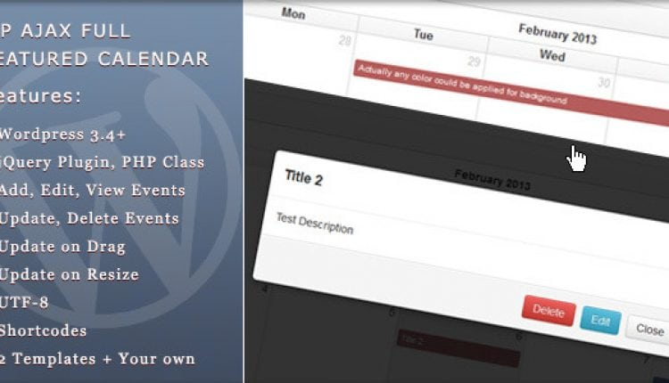 WP Ajax Full Featured Calendar | Prosyscom Tech