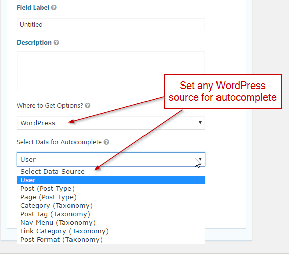 WordPress sources for autocomplete