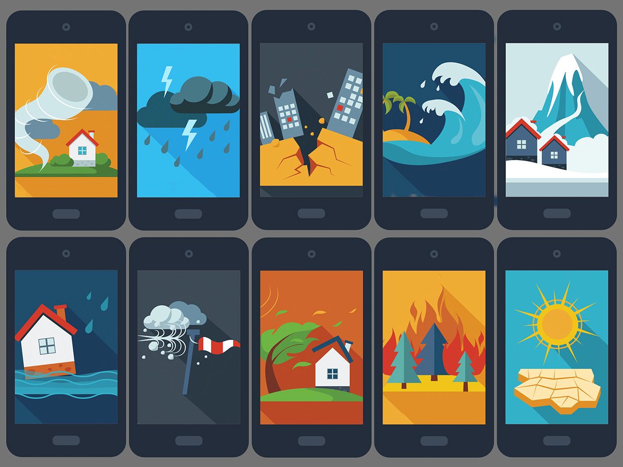 Illustration of phones with scenarios from natural disasters.