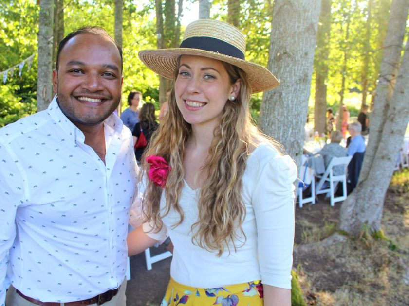 University of B.C. staffers Darran Fernandez and Amanda Reaume were among the fortunate few lucky enough to snap up tickets to UBC Farm's popular long table dinner.