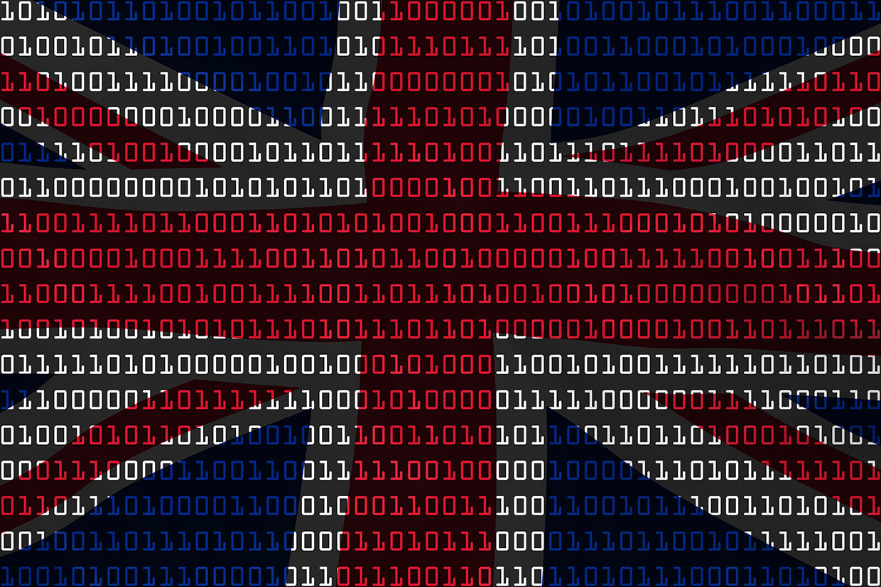 Binary code in the shape and colors of UK flag.