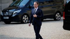 Facebook's CEO Mark Zuckerberg, arrives to meet France's President Emmanuel Macron after the