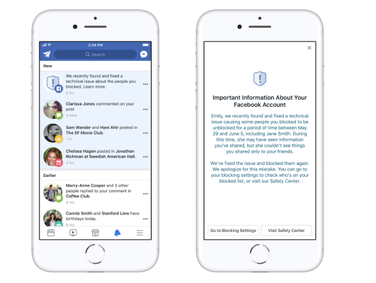 Facebook bug temporarily unblocked people from 800,000+ block lists   Social News