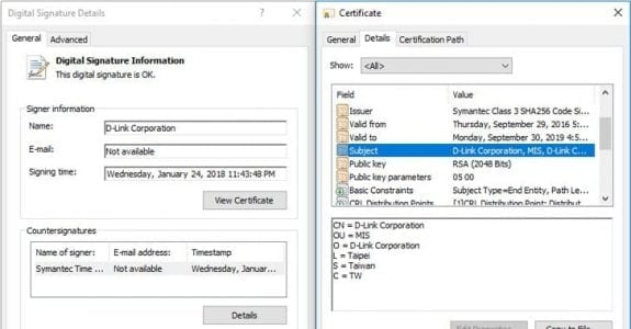 Stolen D-Link Certificate Used to Digitally Sign Spying Malware | Tech Security