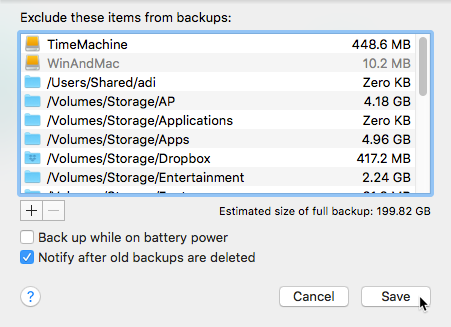 Exclude items from Time Machine backup