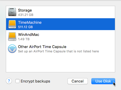 Time Machine Use Disk