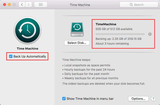 Backing up in Time Machine