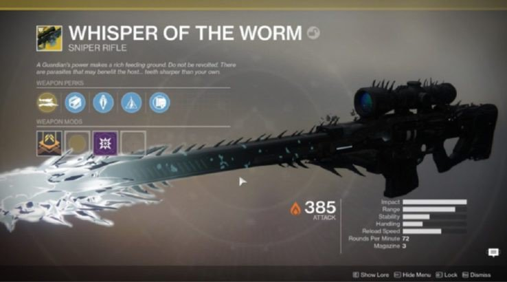 destiny 2 whisper of the worm black spindle exotic sniper rifle