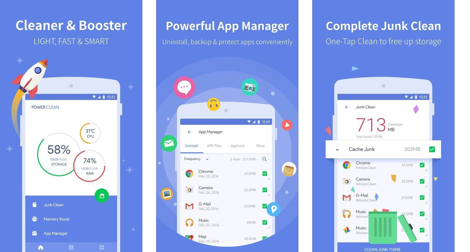 Power Clean (Optimize Cleaner) Best Android Battery Saver App