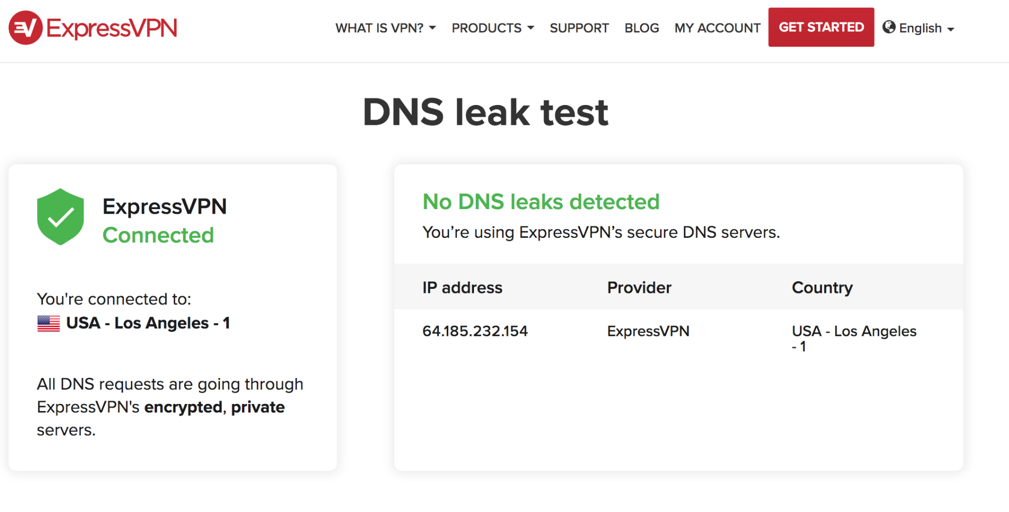 Screenshot of ExpressVPN's DNS leak test tool