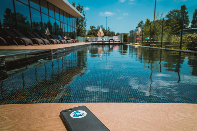 Hot phone by pool
