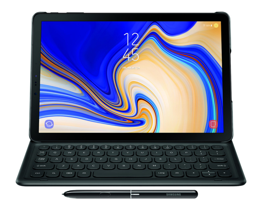 An image of the Samsung Galaxy Tab S4 with keyboard cover and stylus.