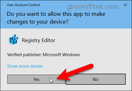 User Account Control dialog box in Windows 10