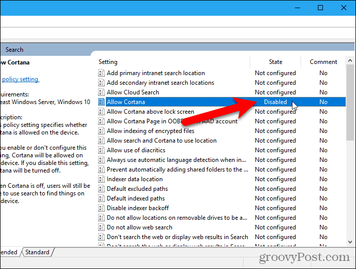 The AllowCortana setting disabled in the Local Group Policy Editor