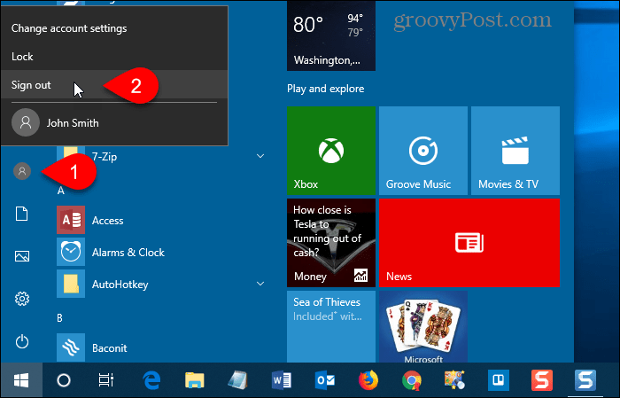 Sign out of Windows 10