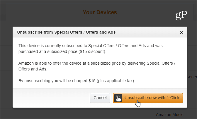 Unsubscribe Offers and Ads One Click Fire HD