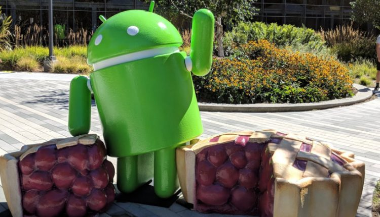 The Android Pie statue is literally just a bugdroid standing next to a cherry pie | Apps & Software