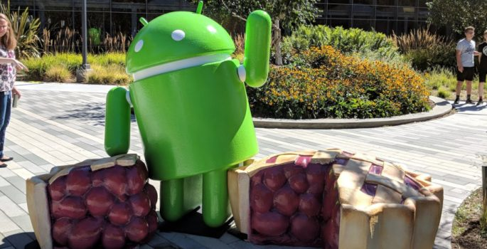 The Android Pie statue is literally just a bugdroid standing next to a cherry pie   Apps & Software