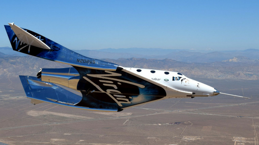 Image of Virgin Galactic's VSS Unity spaceplane in flight
