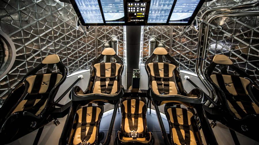 Image of interior of SpaceX Crew Dragon capsule