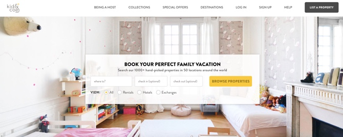 Kid&Coe family friendly vacation rentals