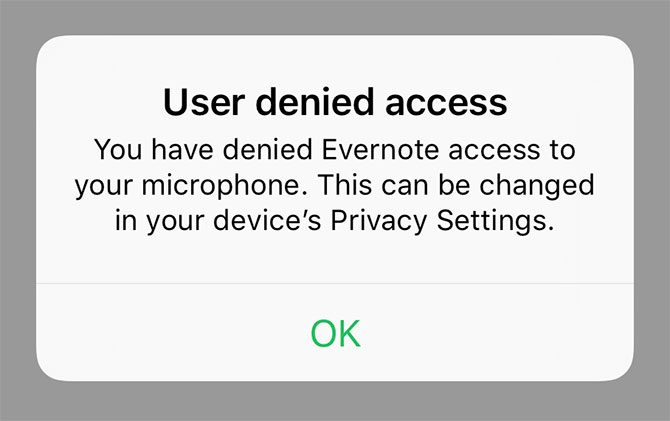 Evernote Microphone Access