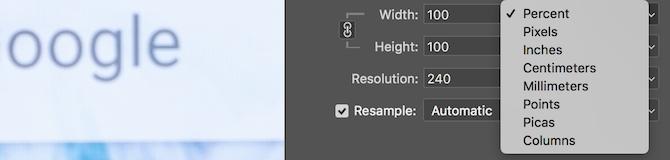 Photoshop image size width and height options