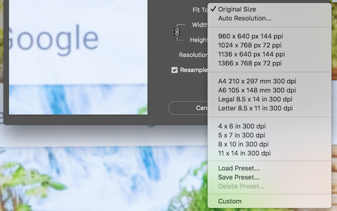 Photoshop image size fit to options