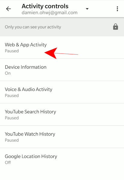 android-google-activity-controls