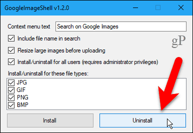 Click Uninstall in GoogleImageShell