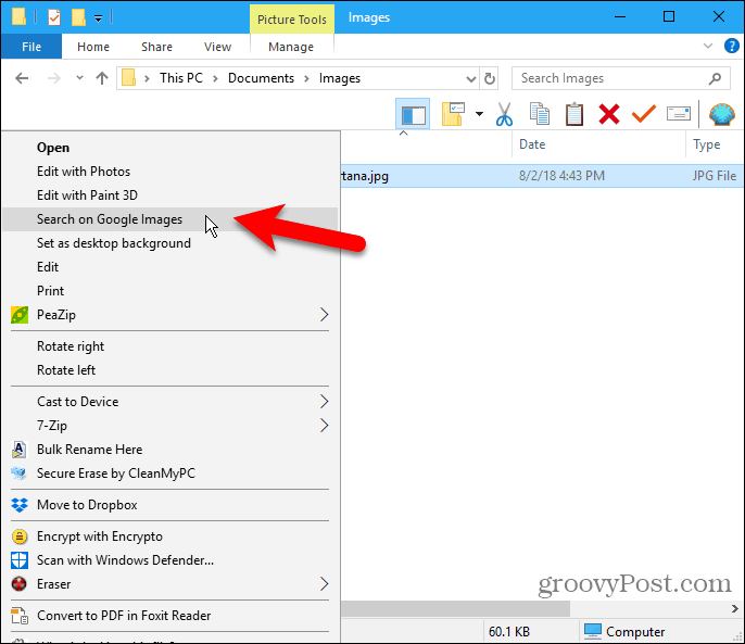 Select Search on Google Images context menu item in File Explorer