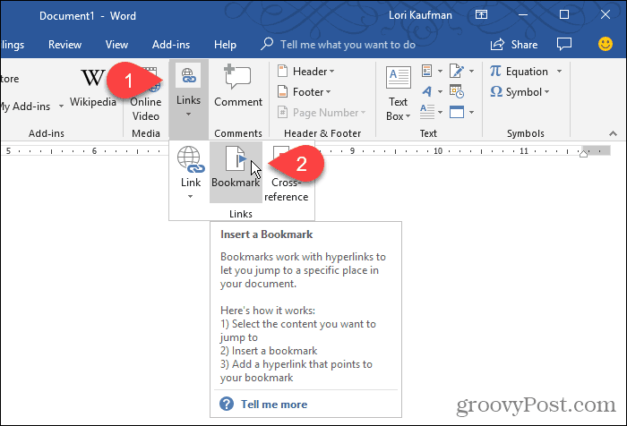 Click Bookmark in Word