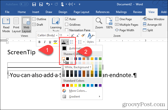 Change the color of the endnote numeral in Word