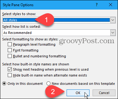 Style pane Options dialog box in Word